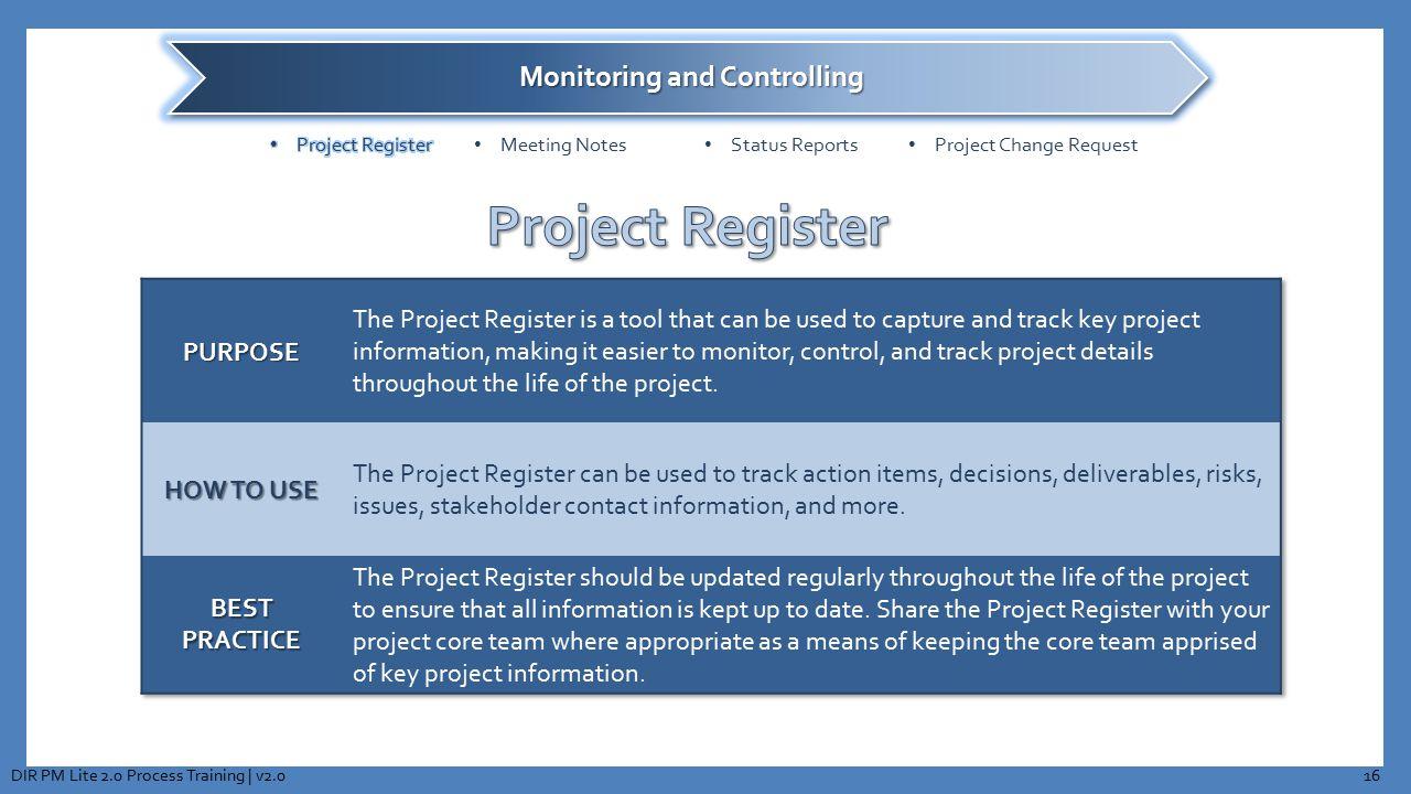 16DIR PM Lite 2.0 Process Training | v2.0