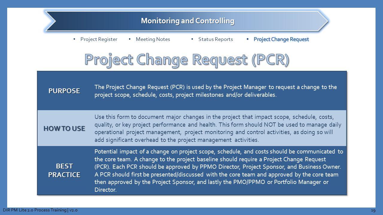 19DIR PM Lite 2.0 Process Training | v2.0