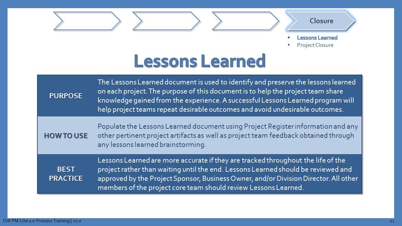 21DIR PM Lite 2.0 Process Training | v2.0