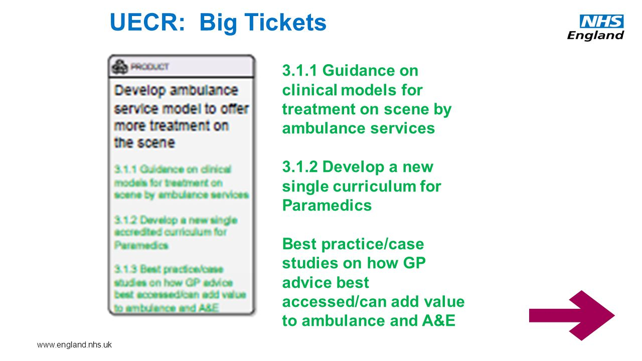 UECR: Big Tickets Guidance on clinical models for treatment on scene by ambulance services Develop a new single curriculum for Paramedics Best practice/case studies on how GP advice best accessed/can add value to ambulance and A&E