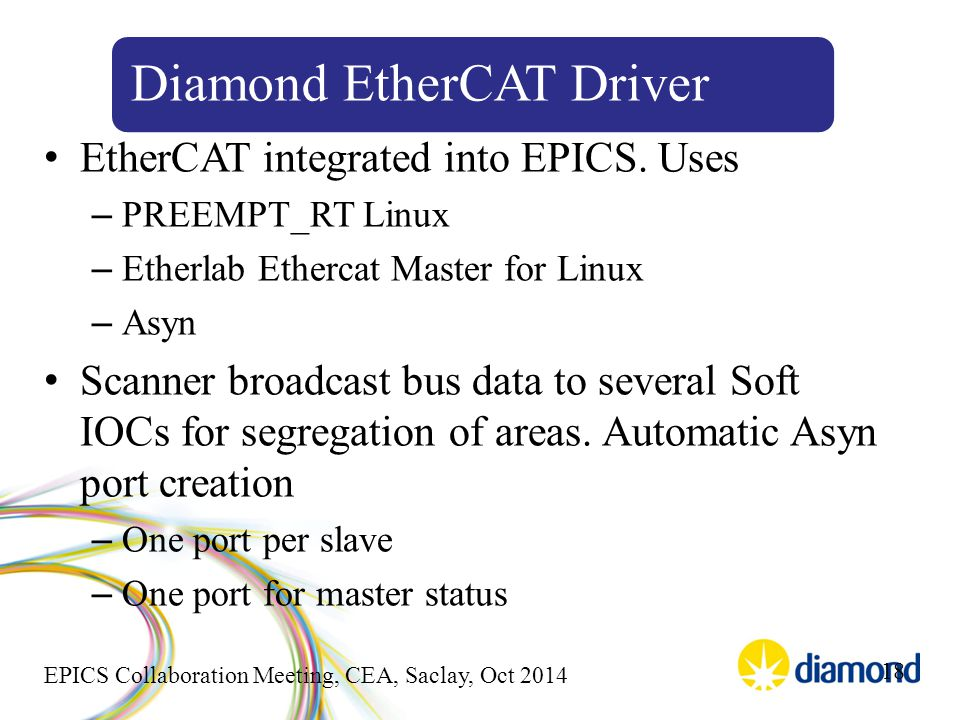 EPICS Collaboration Meeting, CEA, Saclay, Oct 2014 EtherCAT integrated into EPICS. Uses – PREEMPT_RT Linux – Etherlab Ethercat Master for Linux – Asyn
