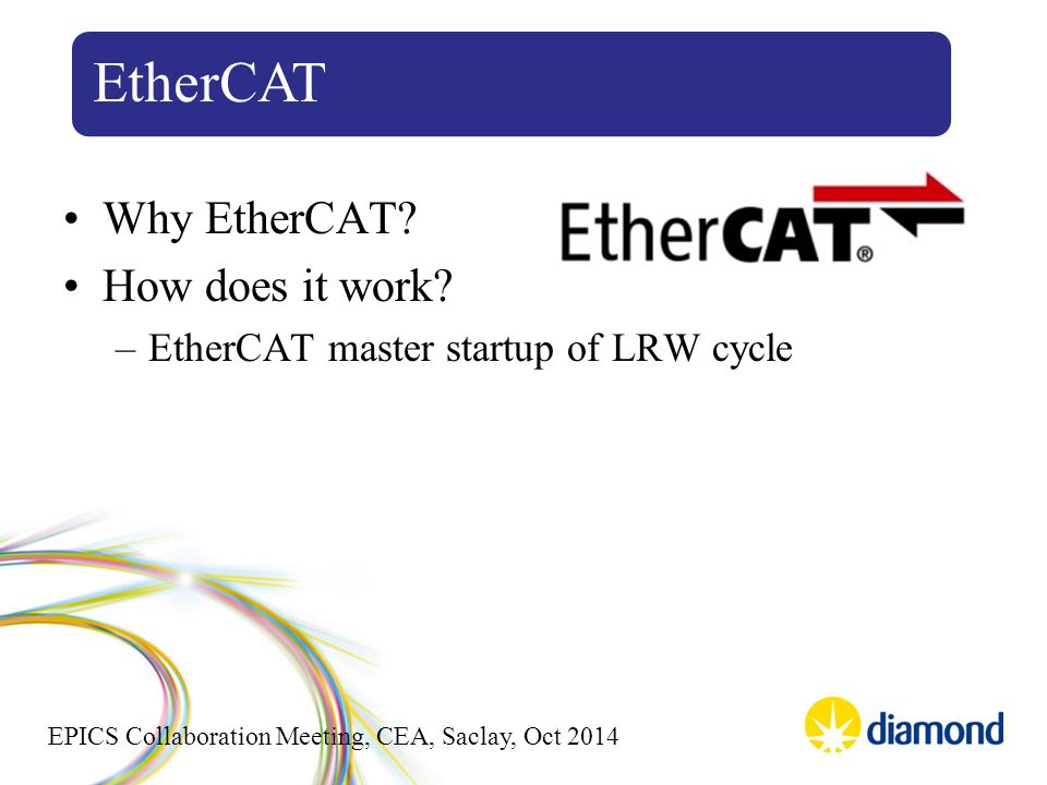 EPICS Collaboration Meeting, CEA, Saclay, Oct 2014 Why EtherCAT? How does it work? –EtherCAT master startup of LRW cycle EtherCAT