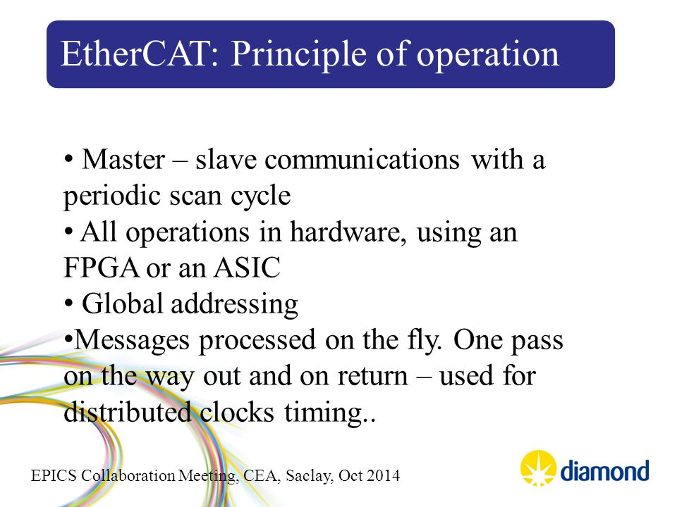 EPICS Collaboration Meeting, CEA, Saclay, Oct 2014 EtherCAT: Principle of operation Master – slave communications with a periodic scan cycle All operations in hardware, using an FPGA or an ASIC Global addressing Messages processed on the fly.