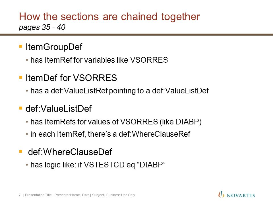How the sections are chained together | Presentation Title | Presenter Name | Date | Subject | Business Use Only7 pages 35 - 40  ItemGroupDef has ItemRef for variables like VSORRES  ItemDef for VSORRES has a def:ValueListRef pointing to a def:ValueListDef  def:ValueListDef has ItemRefs for values of VSORRES (like DIABP) in each ItemRef, there's a def:WhereClauseRef  def:WhereClauseDef has logic like: if VSTESTCD eq DIABP