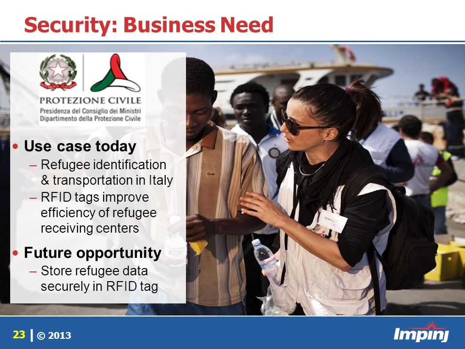 © 2013 23 | Security: Business Need Use case today –Refugee identification & transportation in Italy –RFID tags improve efficiency of refugee receivin