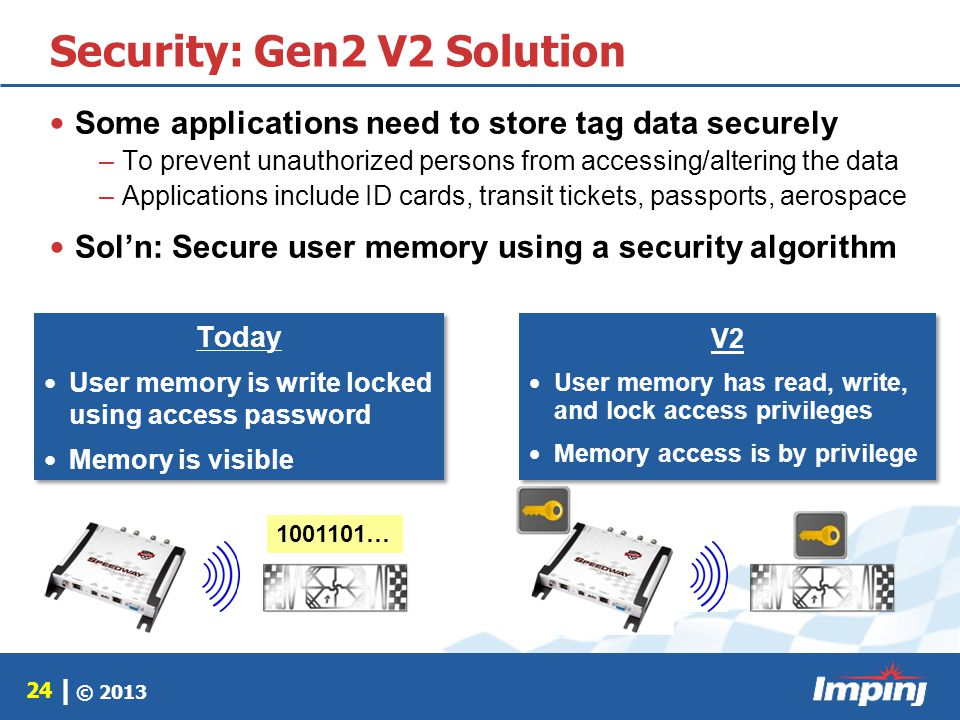 © 2013 24 | Security: Gen2 V2 Solution Today User memory is write locked using access password Memory is visible Today User memory is write locked usi