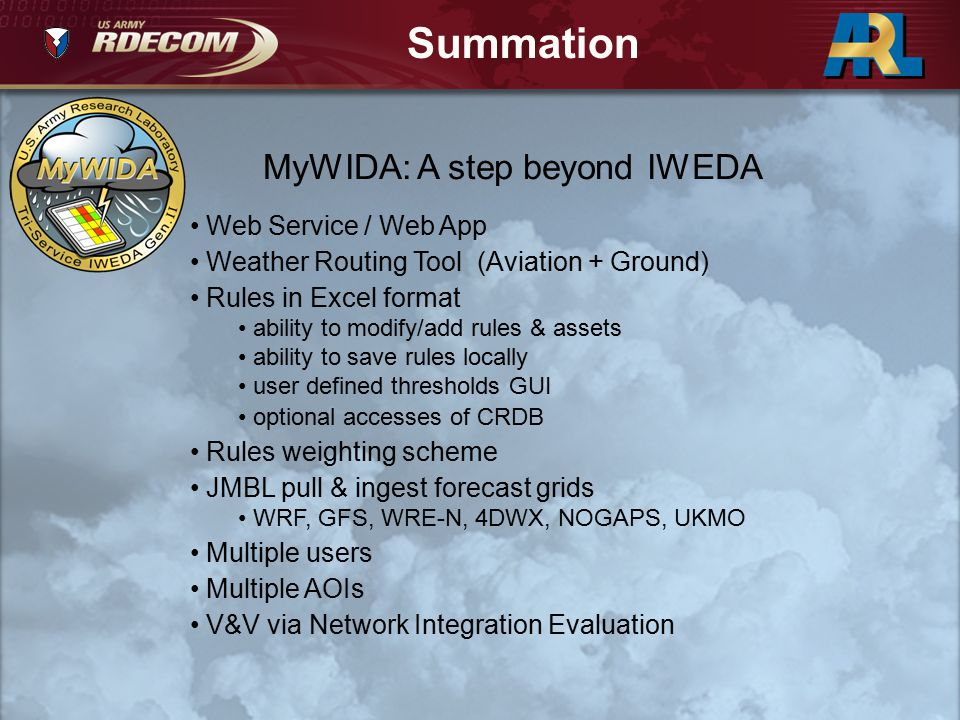 Summation MyWIDA: A step beyond IWEDA Web Service / Web App Weather Routing Tool (Aviation + Ground) Rules in Excel format ability to modify/add rules
