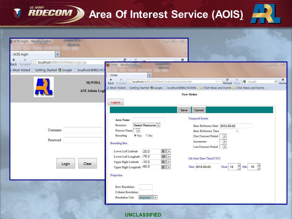 3-02 -20.0 -78.0 -10.0 -60.0 Area Of Interest Service (AOIS) UNCLASSIFIED