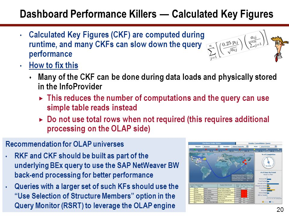 Dashboard Performance Killers — Calculated Key Figures Calculated Key Figures (CKF) are computed during runtime, and many CKFs can slow down the query performance How to fix this  Many of the CKF can be done during data loads and physically stored in the InfoProvider  This reduces the number of computations and the query can use simple table reads instead  Do not use total rows when not required (this requires additional processing on the OLAP side) 20 Recommendation for OLAP universes RKF and CKF should be built as part of the underlying BEx query to use the SAP NetWeaver BW back-end processing for better performance Queries with a larger set of such KFs should use the Use Selection of Structure Members option in the Query Monitor (RSRT) to leverage the OLAP engine