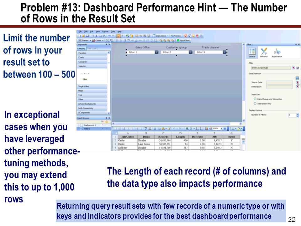 Problem #13: Dashboard Performance Hint — The Number of Rows in the Result Set 22 Limit the number of rows in your result set to between 100 – 500 Returning query result sets with few records of a numeric type or with keys and indicators provides for the best dashboard performance The Length of each record (# of columns) and the data type also impacts performance In exceptional cases when you have leveraged other performance- tuning methods, you may extend this to up to 1,000 rows