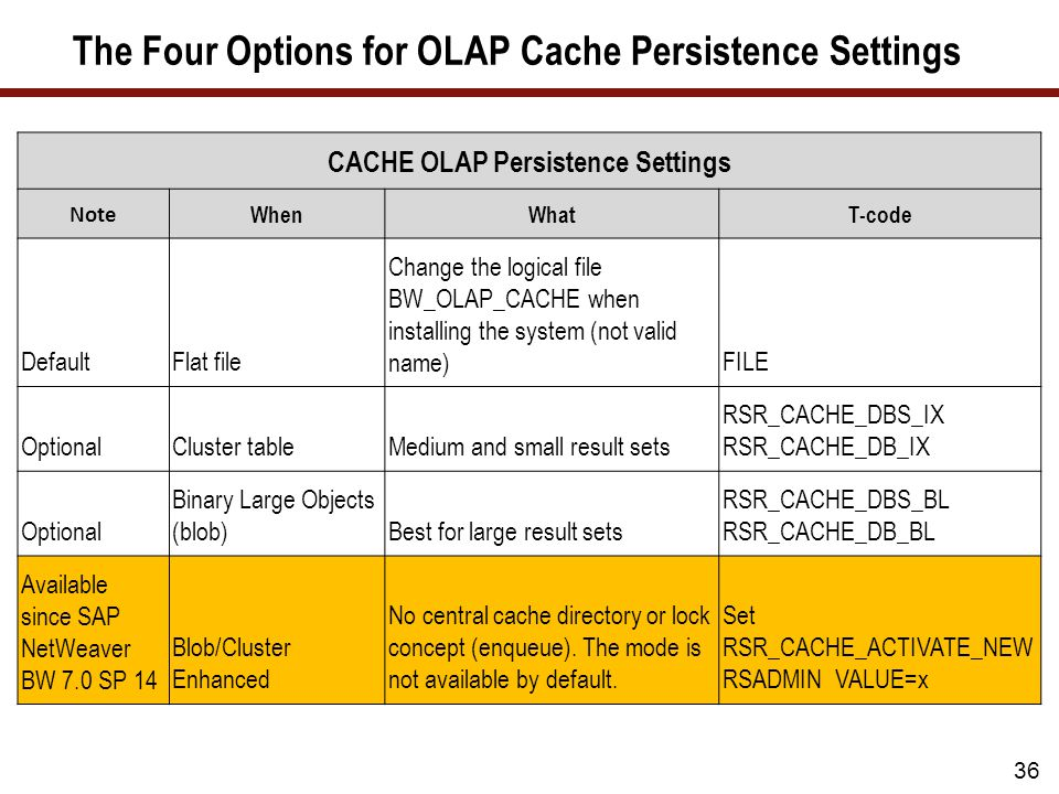 The Four Options for OLAP Cache Persistence Settings CACHE OLAP Persistence Settings Note WhenWhatT-code DefaultFlat file Change the logical file BW_OLAP_CACHE when installing the system (not valid name)FILE OptionalCluster tableMedium and small result sets RSR_CACHE_DBS_IX RSR_CACHE_DB_IX Optional Binary Large Objects (blob)Best for large result sets RSR_CACHE_DBS_BL RSR_CACHE_DB_BL Available since SAP NetWeaver BW 7.0 SP 14 Blob/Cluster Enhanced No central cache directory or lock concept (enqueue).