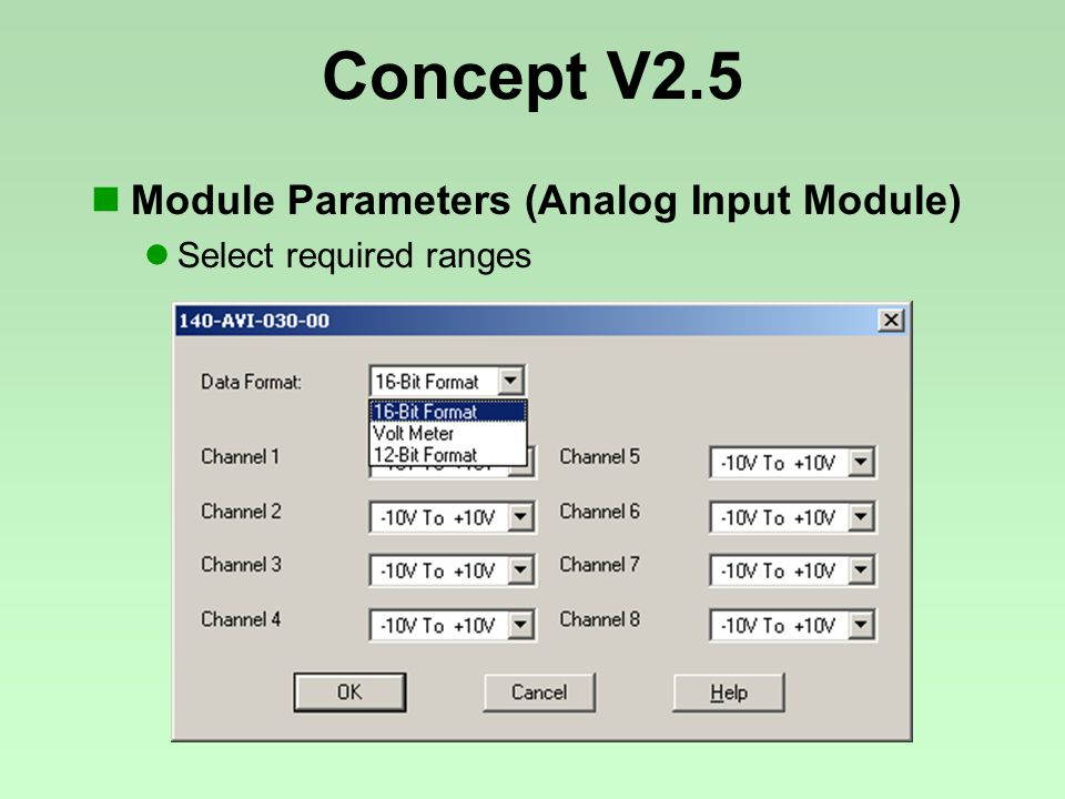Concept V2.5 Module Parameters (Analog Input Module) Select required ranges