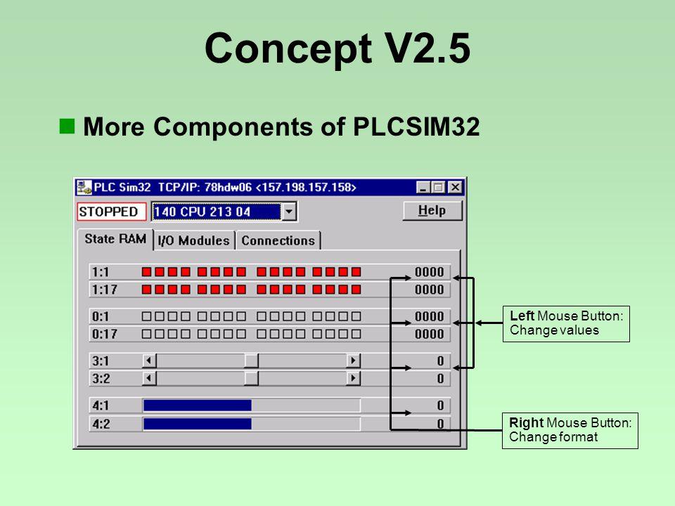 Right Mouse Button: Change format Left Mouse Button: Change values Concept V2.5 More Components of PLCSIM32