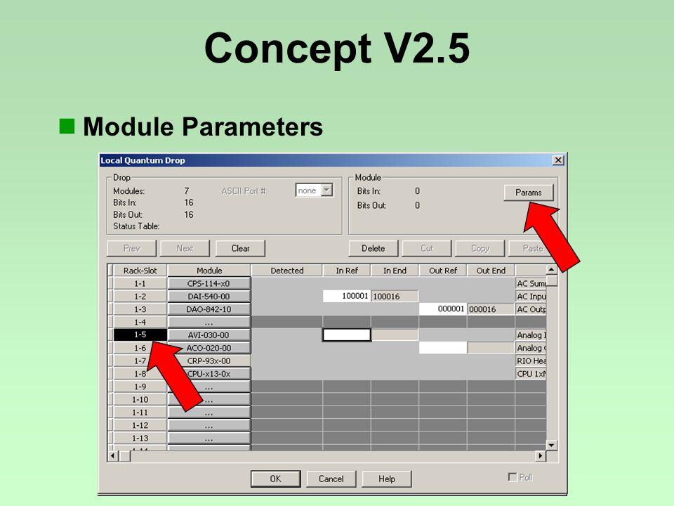 Concept V2.5 Module Parameters