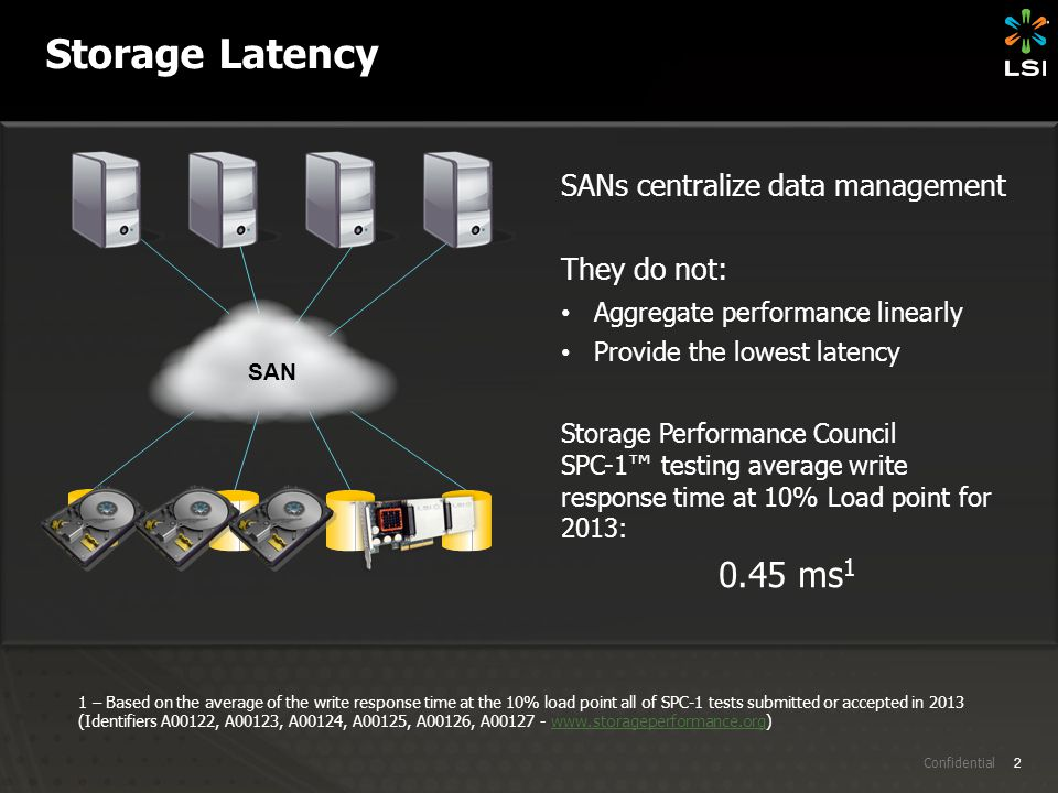 2 Confidential Storage Latency SANs centralize data management They do not: Aggregate performance linearly Provide the lowest latency Storage Performa