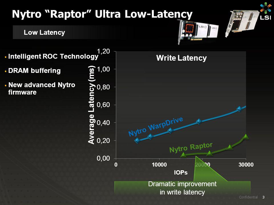 "3 Confidential Nytro ""Raptor"" Ultra Low-Latency Low Latency Write Latency Nytro Raptor Nytro WarpDrive  Intelligent ROC Technology  DRAM buffering "