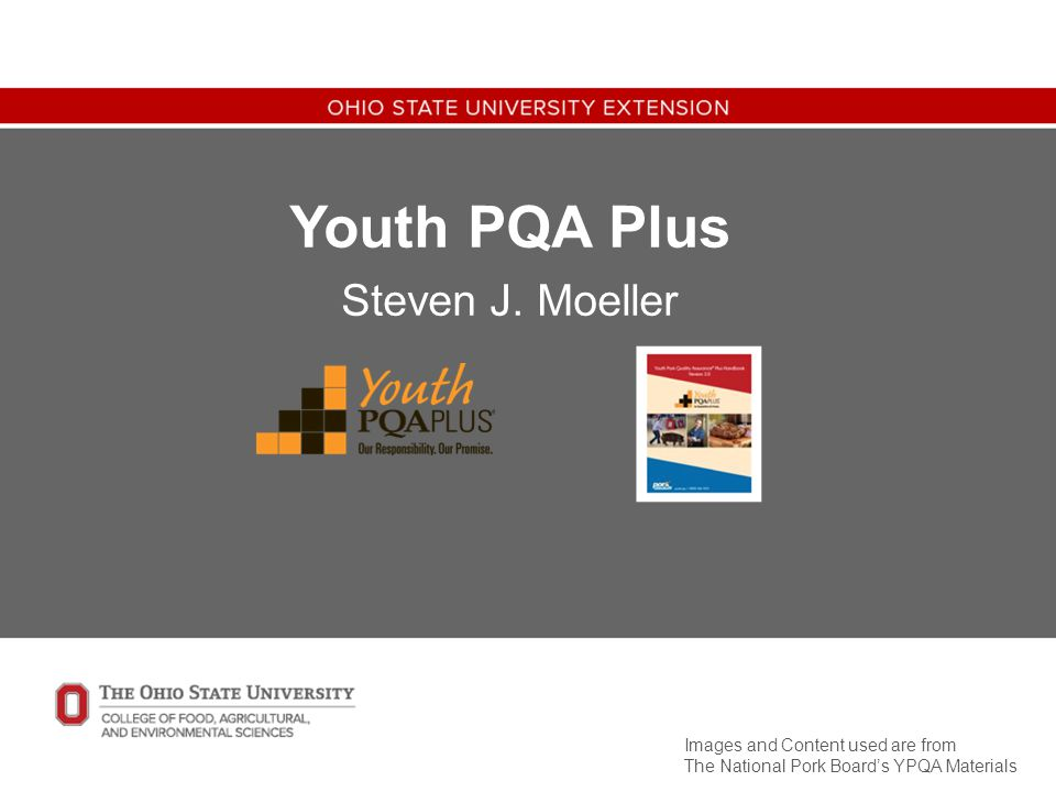 Youth PQA Plus Steven J. Moeller Images and Content used are from The National Pork Board's YPQA Materials