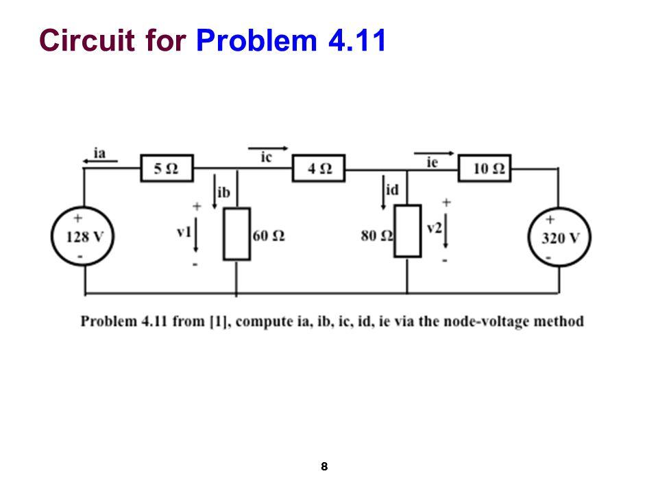 9 Problem 4.11: 2 Node-Voltages KCL in node n1 above 60 Ω: (1)(v1 - 128)/5 + v1/60 + (v1 - v2)/4=0// *60 12*v1 - 12*128 + v1 + 15*v1 – 15*v2=0 v1*( 12 + 1 + 15 ) – 12*128=15*v2 v2=v1*28/15 - 12*128/15= v1*28/15 - 4*128/5 KCL in node n2 above 80 Ω: (2)(v2 - v1)/4 + (v2 - 320)/10 + v2/80=0 v2*( 1/4 + 1/10 + 1/80 ) – v1/4 – 32=0