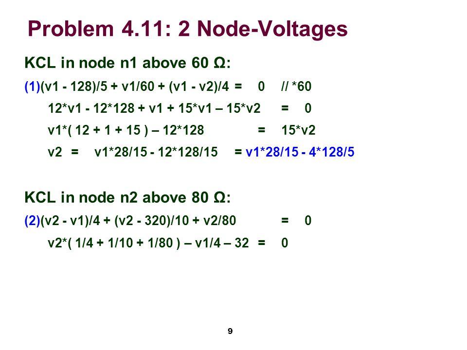 10 Problem 4.11: 2 Node-Voltages Substitute (1) in (2): (2) (v1*28/15 – 4*128/5)*(1/4 + 1/10 + 1/80 ) – v1/4 = 32 v1 *0.676667 – 37.12 – v1/4 = 32 v1=162 Volt v2 = ( v1 / 4 + 32 ) / 0.3625 v2=200 Volt ia=( 128 - 162 ) / 5= -6.8 A ib=v1 / 60=2.7 A id=v2 / 80=2.5 A ic=ia – ib=-9.5 A