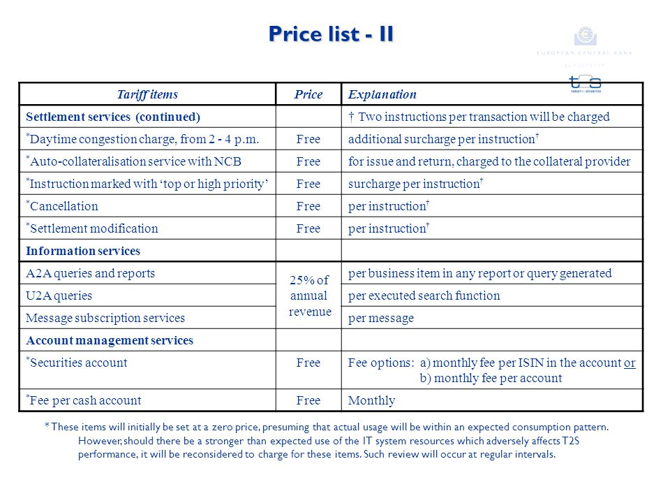 Price list - II Tariff itemsPriceExplanation Settlement services (continued)† Two instructions per transaction will be charged * Daytime congestion charge, from 2 - 4 p.m.Freeadditional surcharge per instruction † * Auto-collateralisation service with NCBFreefor issue and return, charged to the collateral provider * Instruction marked with 'top or high priority'Freesurcharge per instruction † * CancellationFreeper instruction † * Settlement modificationFreeper instruction † Information services A2A queries and reports 25% of annual revenue per business item in any report or query generated U2A queriesper executed search function Message subscription servicesper message Account management services * Securities accountFreeFee options: a) monthly fee per ISIN in the account or b) monthly fee per account * Fee per cash accountFreeMonthly * These items will initially be set at a zero price, presuming that actual usage will be within an expected consumption pattern.