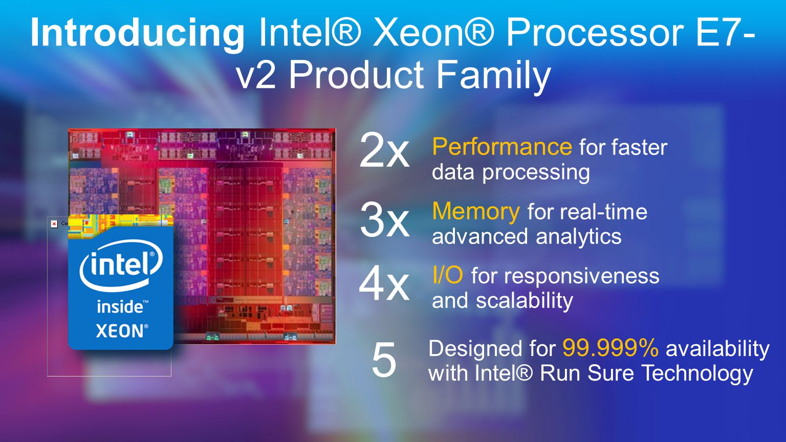 Introducing Intel® Xeon® Processor E7- v2 Product Family Performance for faster data processing Memory for real-time advanced analytics I/O for responsiveness and scalability Designed for 99.999% availability with Intel® Run Sure Technology 5 2x 3x 4x