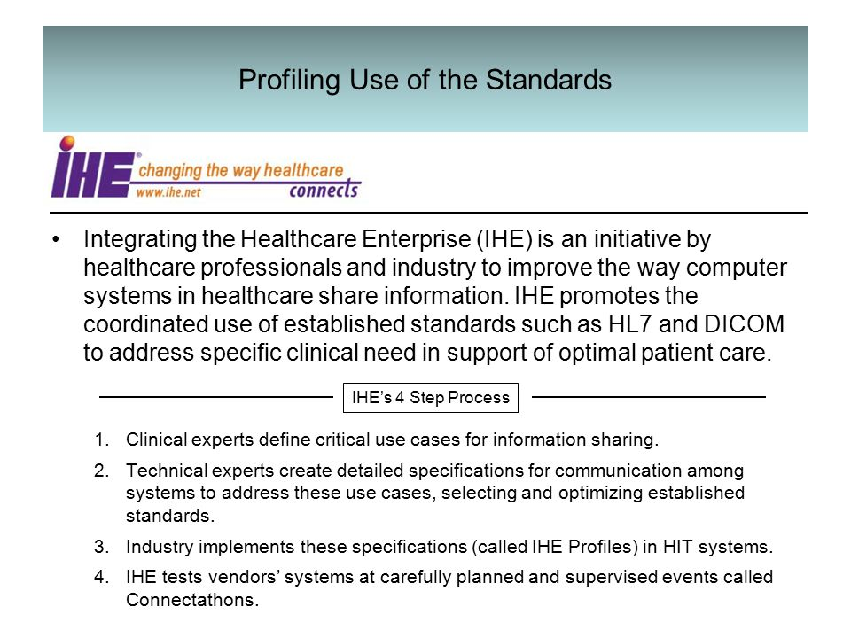 Profiling Use of the Standards Integrating the Healthcare Enterprise (IHE) is an initiative by healthcare professionals and industry to improve the way computer systems in healthcare share information.