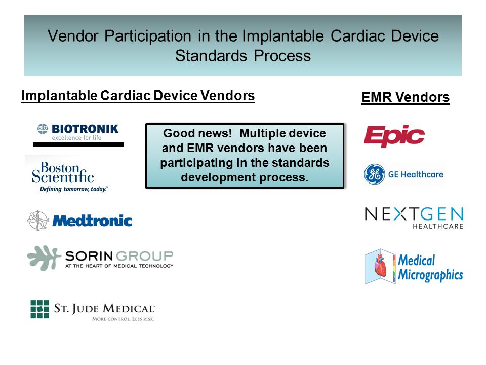 Vendor Participation in the Implantable Cardiac Device Standards Process Good news.