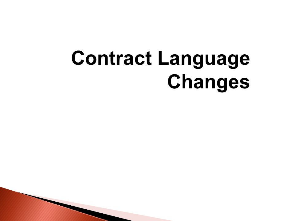 Contract Language Changes