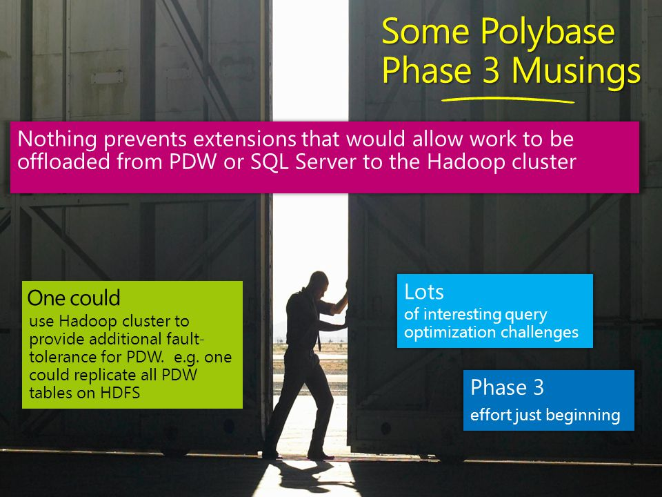 Some Polybase Phase 3 Musings use Hadoop cluster to provide additional fault- tolerance for PDW.