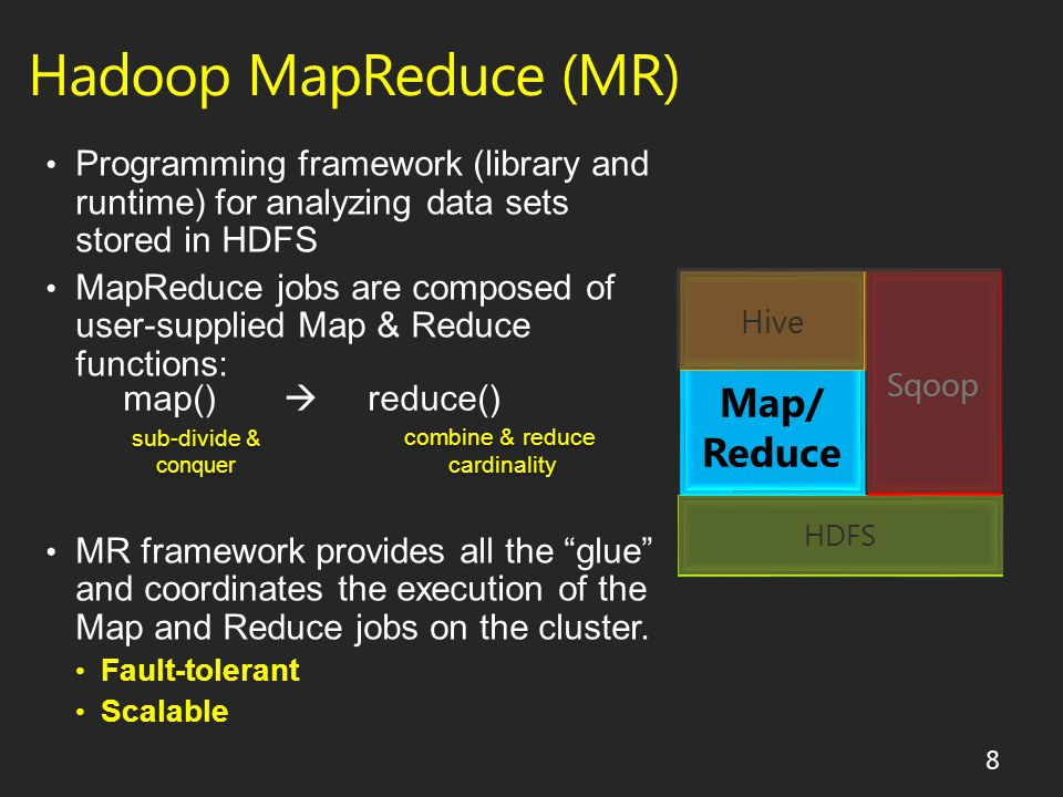 19 Approach Drawbacks Do analysis using MapReduce Sqoop used to pull data from RDBMS Must be able to program MapReduce jobs Sqoop as a DB connector has terrible performance Data might not fit in RDBMS Bad performance as load not parallelized Do analysis using the RDBMS Sqoop used to export HDFS data into RDBMS Alternative #1 - Sqoop Export