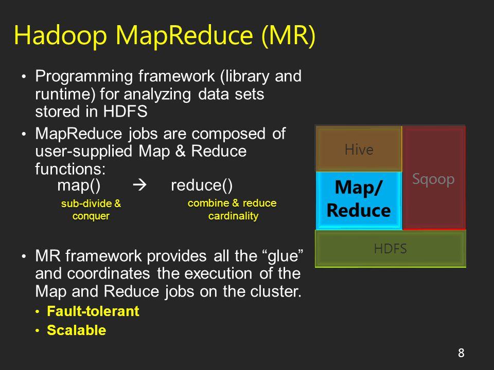 Hadoop MapReduce (MR) HDFS Map/ Reduce Hive Sqoop 8 map()  reduce() sub-divide & conquer sub-divide & conquer combine & reduce cardinality combine & reduce cardinality