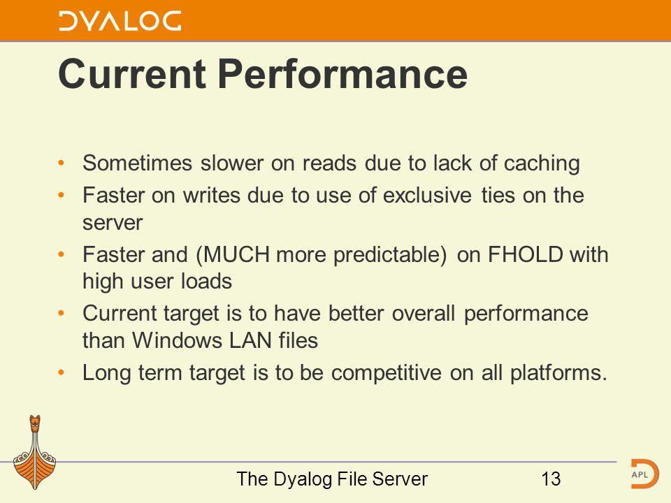 Current Performance Sometimes slower on reads due to lack of caching Faster on writes due to use of exclusive ties on the server Faster and (MUCH more predictable) on FHOLD with high user loads Current target is to have better overall performance than Windows LAN files Long term target is to be competitive on all platforms.