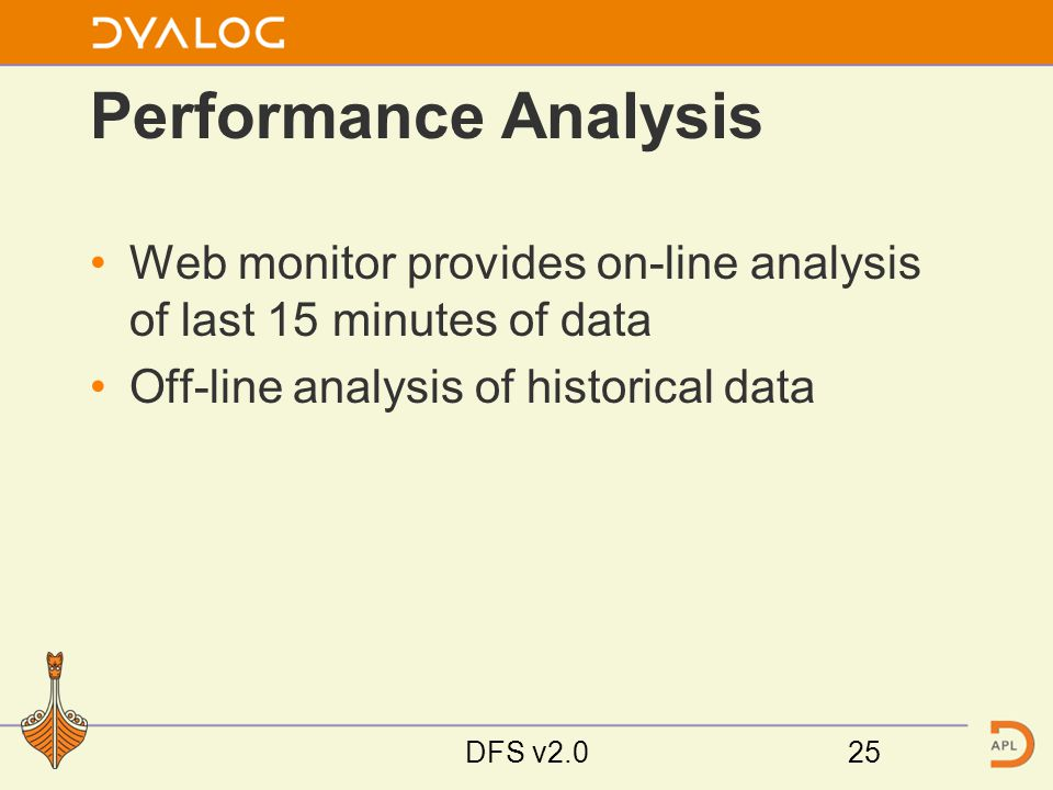 Performance Analysis Web monitor provides on-line analysis of last 15 minutes of data Off-line analysis of historical data DFS v2.025