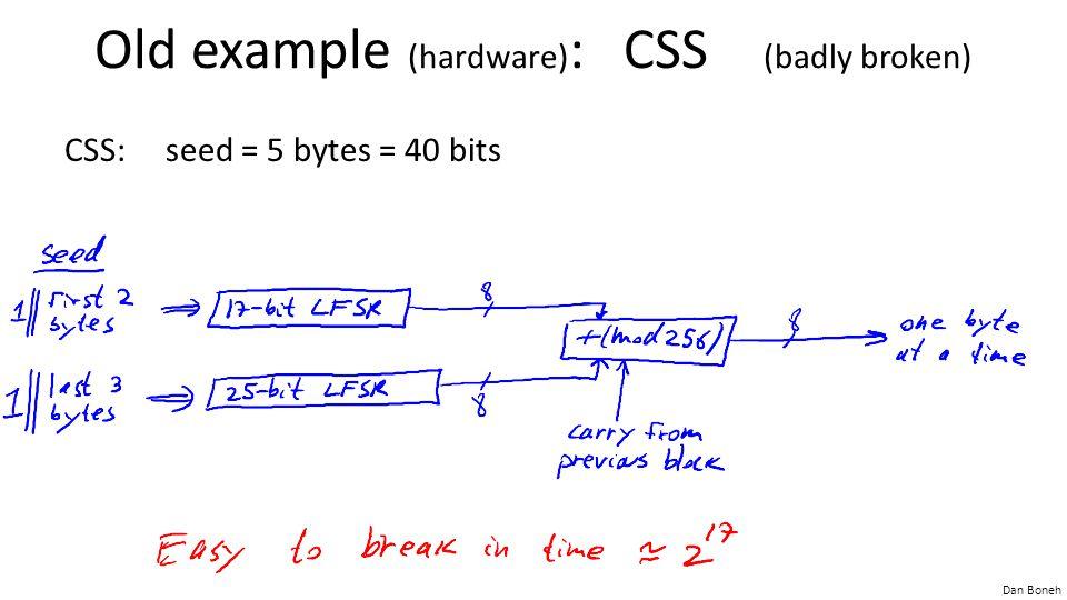 Dan Boneh Old example (hardware) : CSS (badly broken) CSS: seed = 5 bytes = 40 bits
