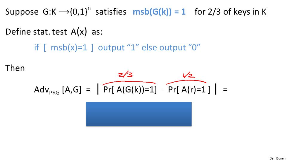 """Dan Boneh Suppose G:K {0,1} n satisfies msb(G(k)) = 1 for 2/3 of keys in K Define stat. test A ( x ) as: if [ msb(x)=1 ] output """"1"""" else output """"0"""" Th"""