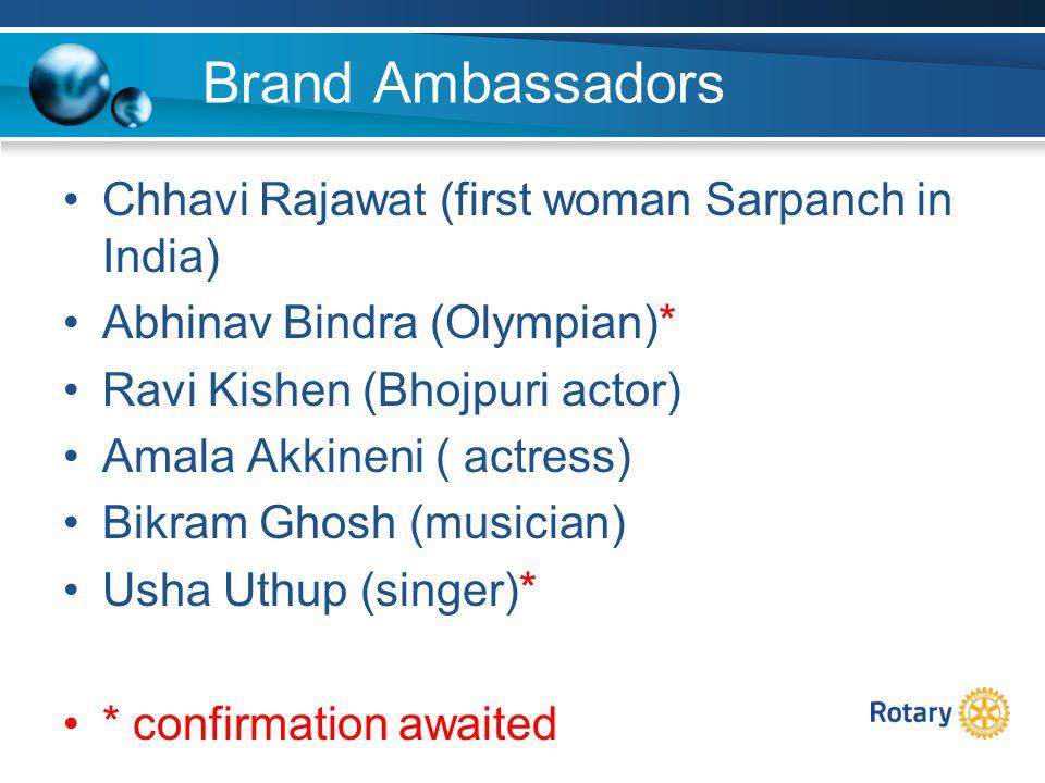 Brand Ambassadors Chhavi Rajawat (first woman Sarpanch in India) Abhinav Bindra (Olympian)* Ravi Kishen (Bhojpuri actor) Amala Akkineni ( actress) Bikram Ghosh (musician) Usha Uthup (singer)* * confirmation awaited