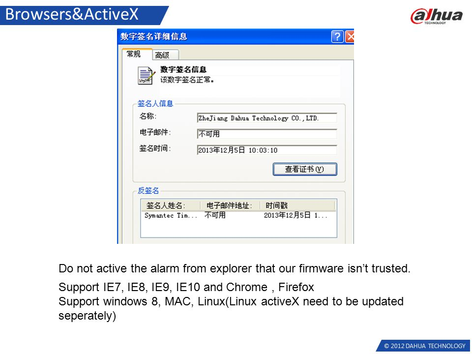 © 2012 DAHUA TECHNOLOGY Browsers&ActiveX Support IE7, IE8, IE9, IE10 and Chrome, Firefox Support windows 8, MAC, Linux(Linux activeX need to be updated seperately) Do not active the alarm from explorer that our firmware isn't trusted.