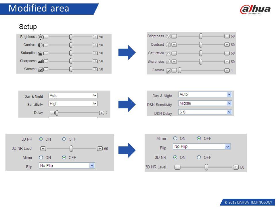 © 2012 DAHUA TECHNOLOGY Modified area Setup