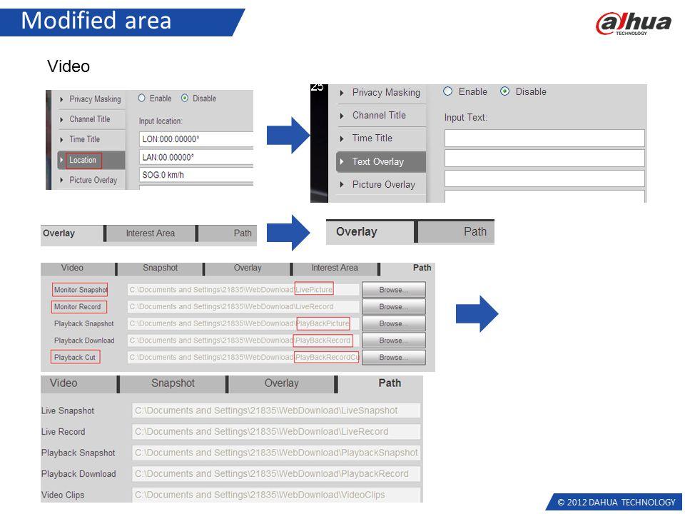 © 2012 DAHUA TECHNOLOGY Modified area Video