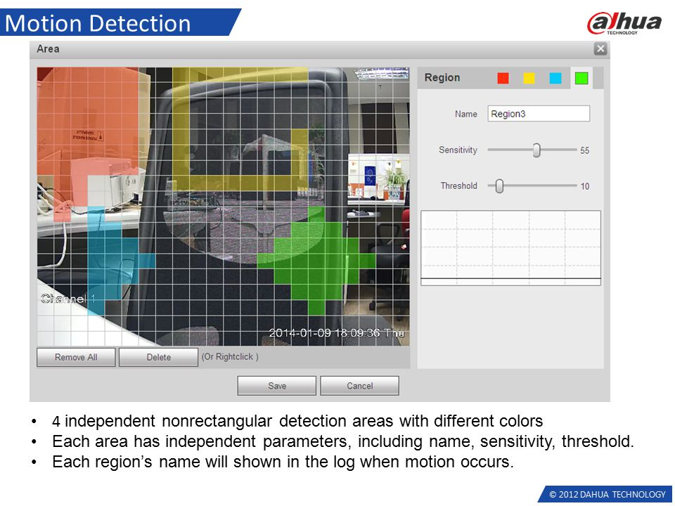 © 2012 DAHUA TECHNOLOGY Motion Detection 4 independent nonrectangular detection areas with different colors Each area has independent parameters, including name, sensitivity, threshold.