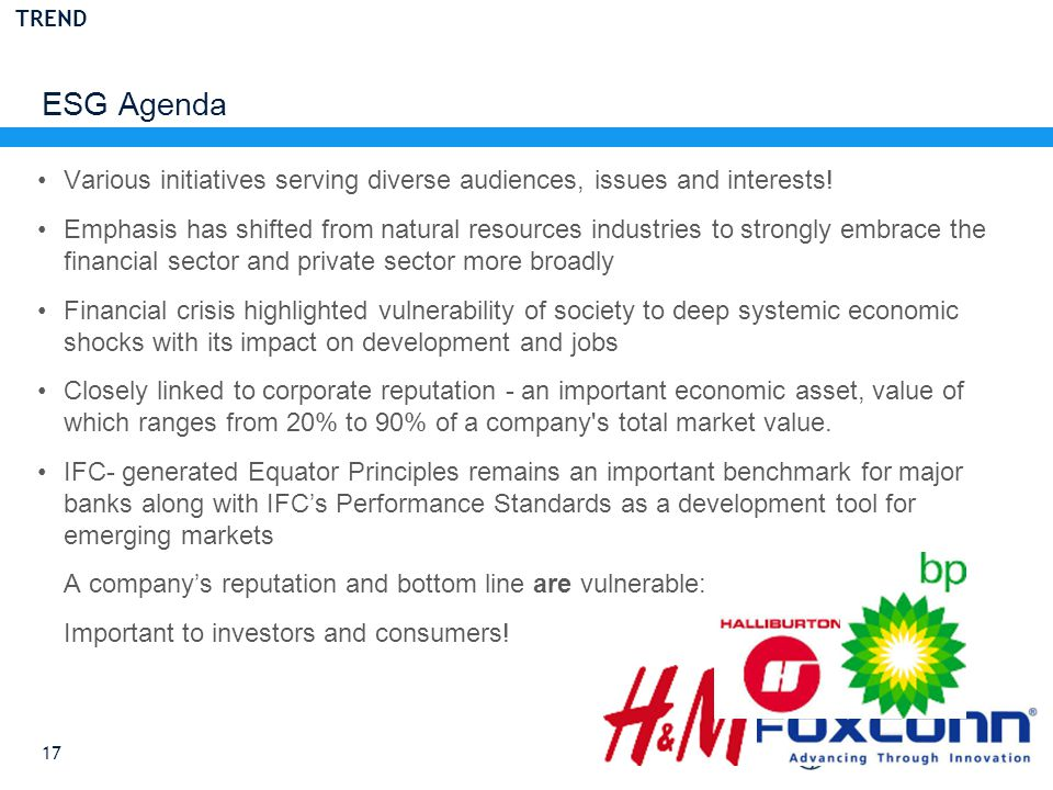 ESG Agenda 17 Various initiatives serving diverse audiences, issues and interests.