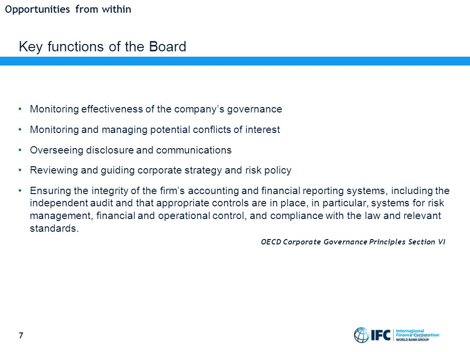Key functions of the Board Monitoring effectiveness of the company's governance Monitoring and managing potential conflicts of interest Overseeing disclosure and communications Reviewing and guiding corporate strategy and risk policy Ensuring the integrity of the firm's accounting and financial reporting systems, including the independent audit and that appropriate controls are in place, in particular, systems for risk management, financial and operational control, and compliance with the law and relevant standards.
