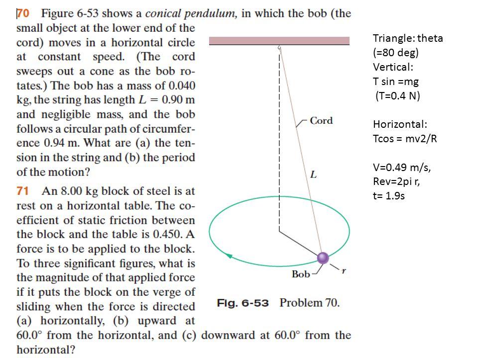 Triangle: theta (=80 deg) Vertical: T sin =mg (T=0.4 N) Horizontal: Tcos = mv2/R V=0.49 m/s, Rev=2pi r, t= 1.9s