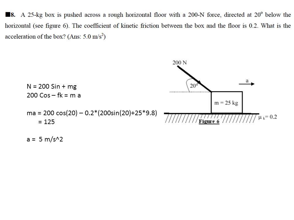 N = 200 Sin + mg 200 Cos – fk = m a ma = 200 cos(20) – 0.2*(200sin(20)+25*9.8) = 125 a = 5 m/s^2