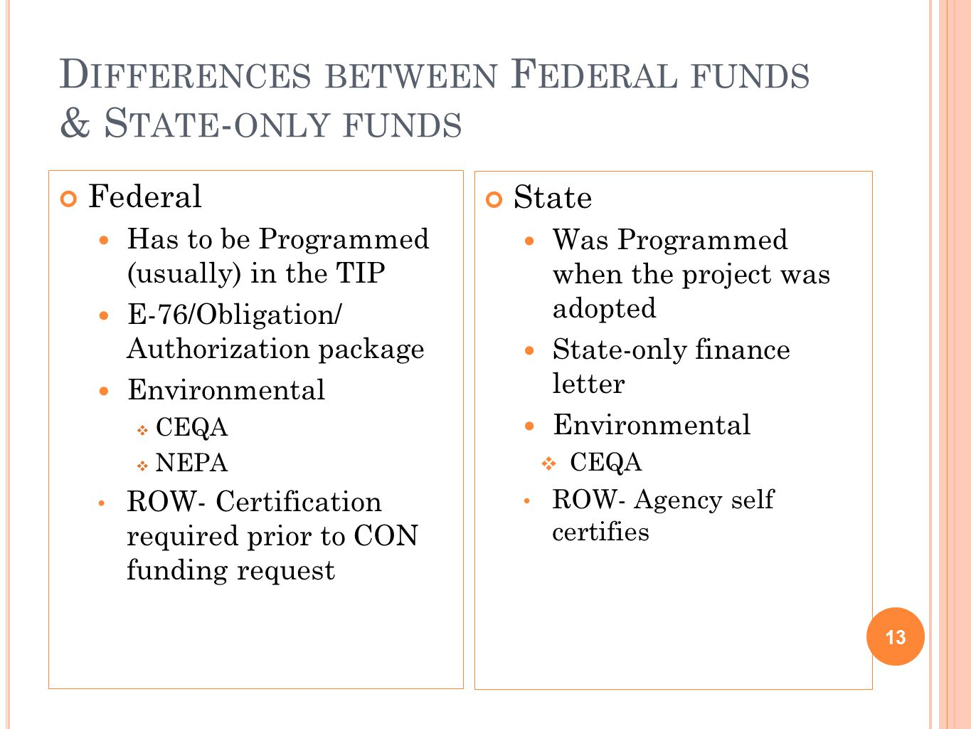 D IFFERENCES BETWEEN F EDERAL FUNDS & S TATE - ONLY FUNDS Federal Has to be Programmed (usually) in the TIP E-76/Obligation/ Authorization package Environmental  CEQA  NEPA ROW- Certification required prior to CON funding request 13 State Was Programmed when the project was adopted State-only finance letter Environmental  CEQA ROW- Agency self certifies