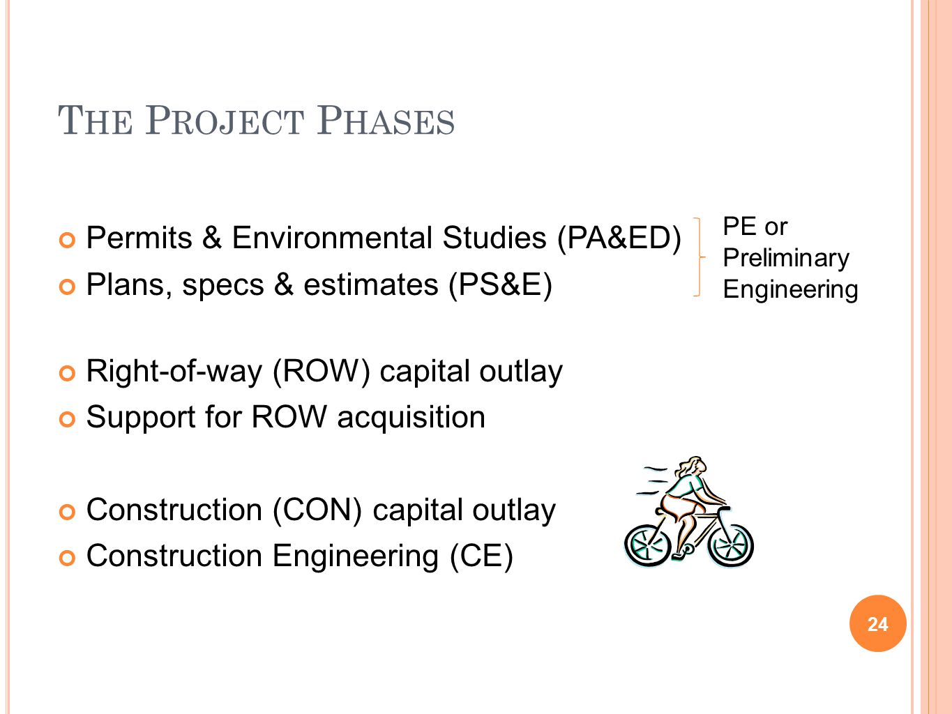 T HE P ROJECT P HASES Permits & Environmental Studies (PA&ED) Plans, specs & estimates (PS&E) Right-of-way (ROW) capital outlay Support for ROW acquisition Construction (CON) capital outlay Construction Engineering (CE) PE or Preliminary Engineering 24