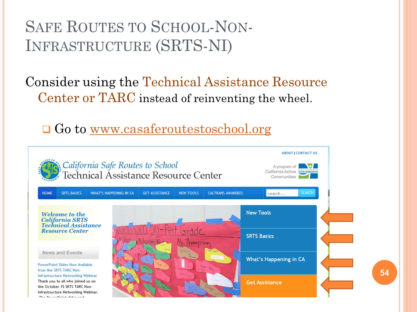 S AFE R OUTES TO S CHOOL -N ON - I NFRASTRUCTURE (SRTS-NI) 54 Consider using the Technical Assistance Resource Center or TARC instead of reinventing the wheel.