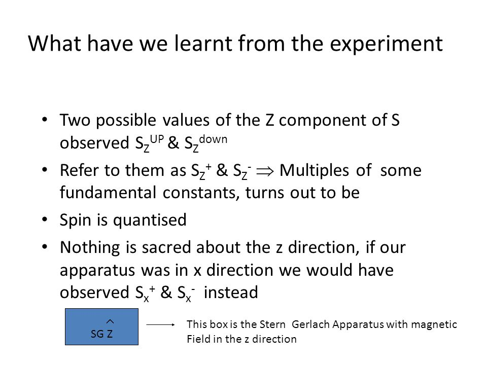 Two possible values of the Z component of S observed S Z UP & S Z down Refer to them as S Z + & S Z -  Multiples of some fundamental constants, turns