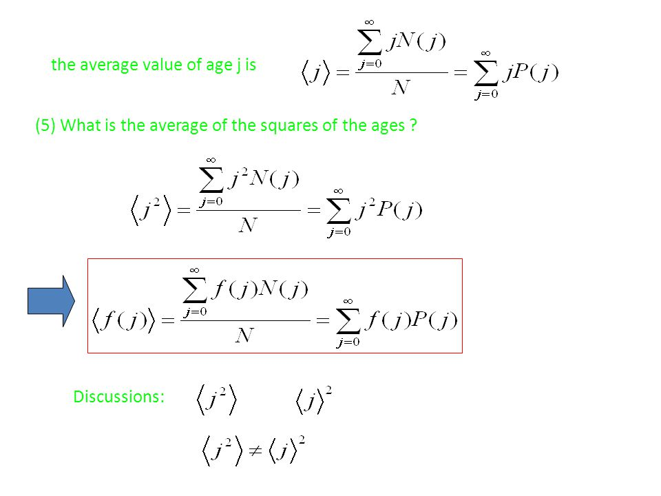 the average value of age j is (5) What is the average of the squares of the ages ? Discussions: