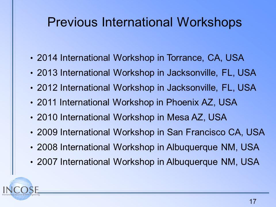 17 Previous International Workshops 2014 International Workshop in Torrance, CA, USA 2013 International Workshop in Jacksonville, FL, USA 2012 International Workshop in Jacksonville, FL, USA 2011 International Workshop in Phoenix AZ, USA 2010 International Workshop in Mesa AZ, USA 2009 International Workshop in San Francisco CA, USA 2008 International Workshop in Albuquerque NM, USA 2007 International Workshop in Albuquerque NM, USA